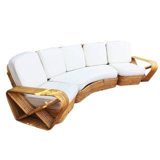 Restored Paul Frankl Style Six Strand Rattan Five-Seat Curved Sectional Sofa