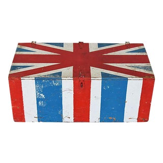 Vintage Hand-Painted British Union Jack Trunk Coffee Table