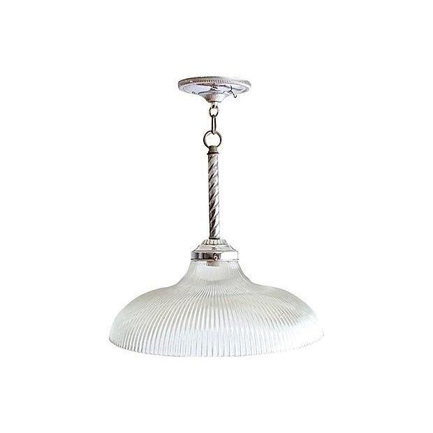 Image of Art Glass & Chrome Pendant Lamp