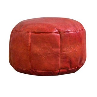 Antique Revival Cranberry Red Leather Pouf Ottoman
