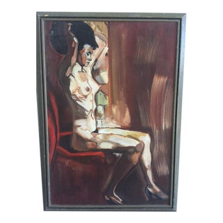 Mid-Century Style Painting of Seated Nude