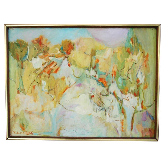 Image of Signed Mid-Century Abstract Oil Painting