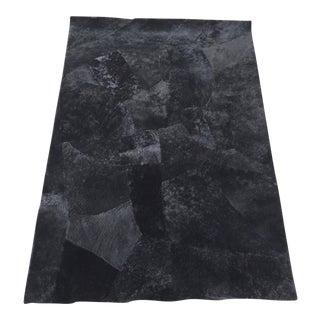 Black Sheepskin Leather Rug - 4' X 6'
