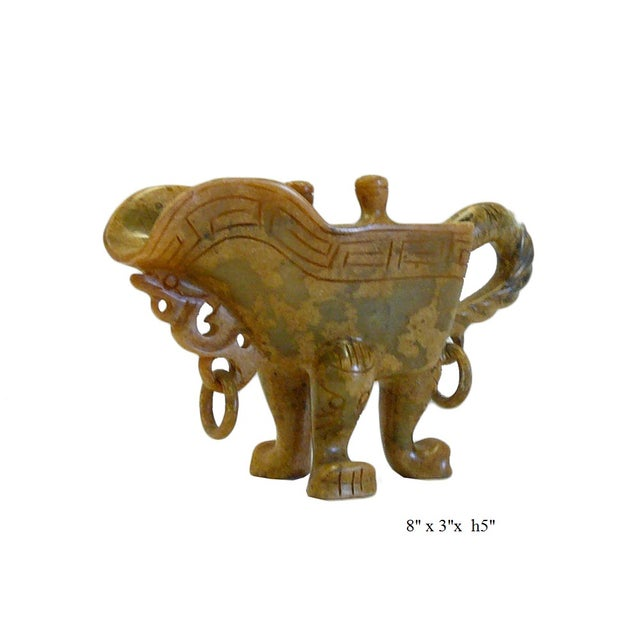 Chinese Oriental Stone Carved Tri-Leg Cup - Image 6 of 6