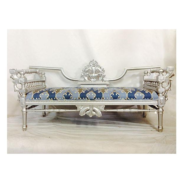 Image of Vintage Baroque Carved Wood Upholstered Day Bed