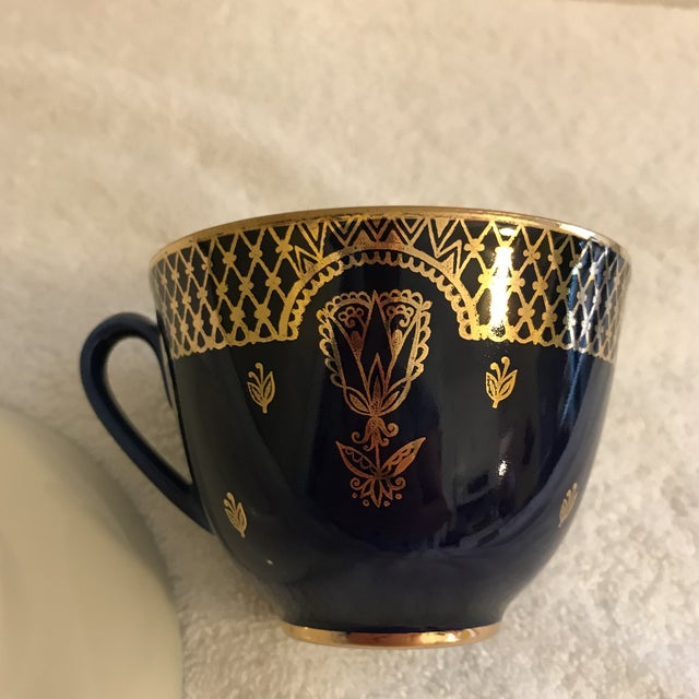 Image of Vintage Russian Lomonosov Cobalt Blue & Gold Tea Cup