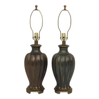 Pair of Ginger Jar Lamps in Antique Bronze Finish