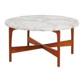 Danish Modern Teak Marble Top Coffee Table