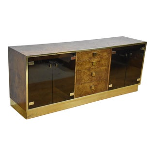 Hollywood Regency Burl and Brass Credenza by Founders