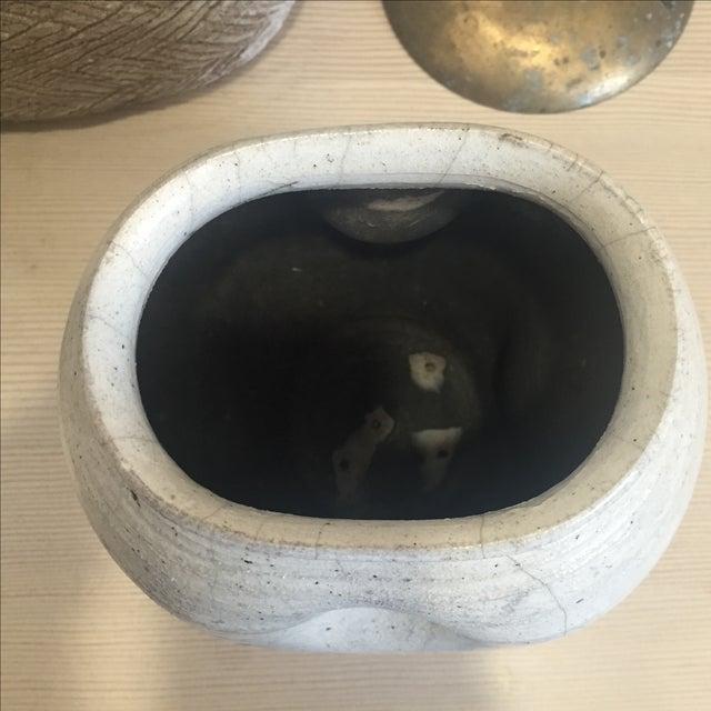 Vintage White Raku Pot Planter - Image 5 of 7
