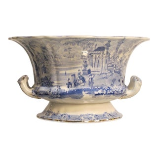 Antique New Wharf Pottery Blue and White Serving Dish