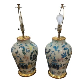 Vintage Oriental Hand Painted Table Lamps - A Pair