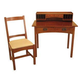 Stickley Mission Oak Writing Desk W. Matching Chair