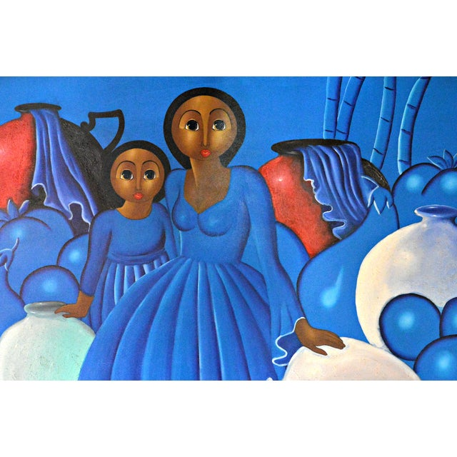 Dominican Woman With Girl Oil Painting - Image 3 of 3