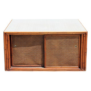 MId-Century Caned & Bamboo Trimmed Credenza