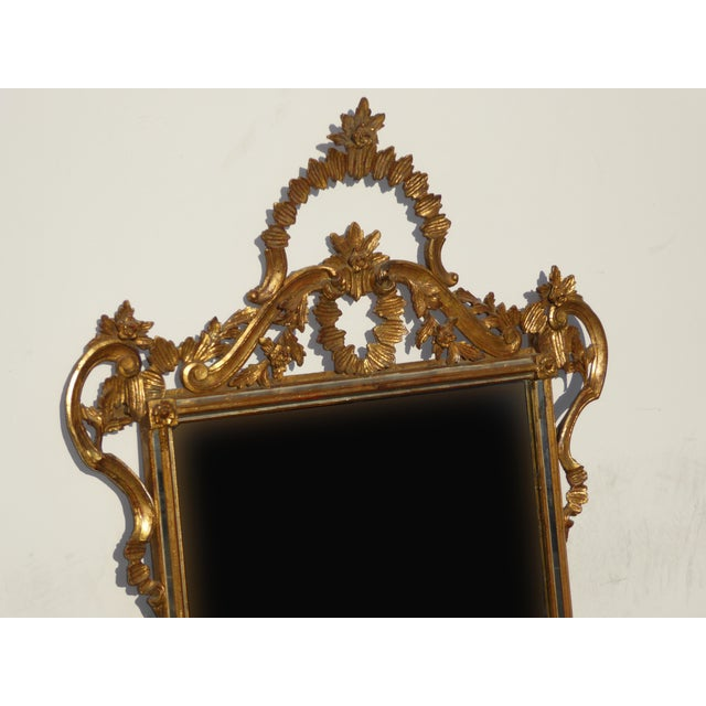 Large Vintage French Italian Rococo Ornately Carved Gold Gilt Wall Mantle Mirror Made in Italy - Image 6 of 11