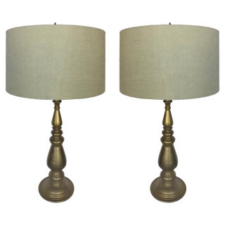 Brass Balustrade Form Table Lamps - A Pair