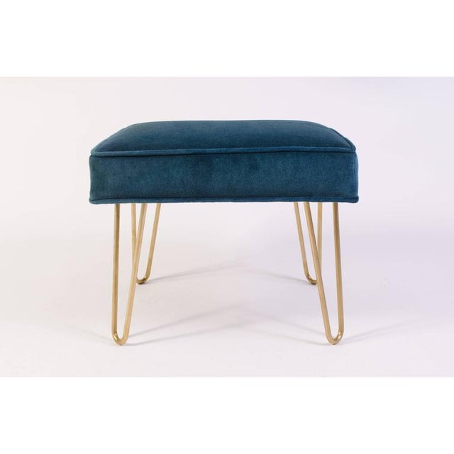 Petite Brass Hairpin Ottomans in Teal Velvet by Montage - Image 2 of 8