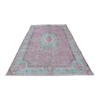 Vintage Turkish Oushak Distressed Anatolian Home Decor Floral Rug - 10' x 6.1'