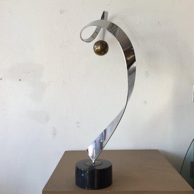 Minimalist Modern Metal Sculpture on Marble Base - Image 4 of 10