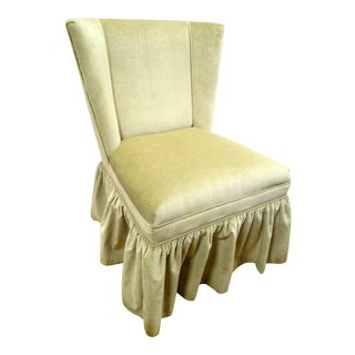 Skirted Cowtan and Tout Velvet Skirted Slipper Chair