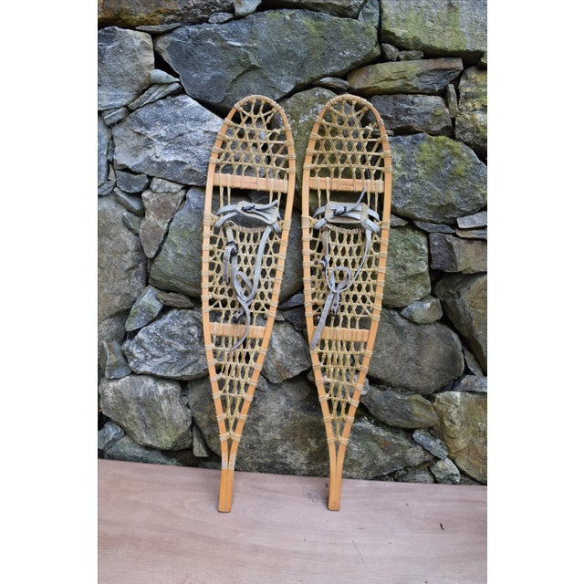Vermont Tubbs Wooden Snowshoes With Rawhide Webbing And