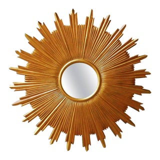 Gold Leaf Sunburst Convex Mirror by Carver's Guild