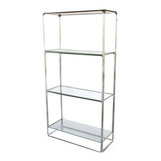 Milo Baughman Style Mid-Century Chrome Shelves
