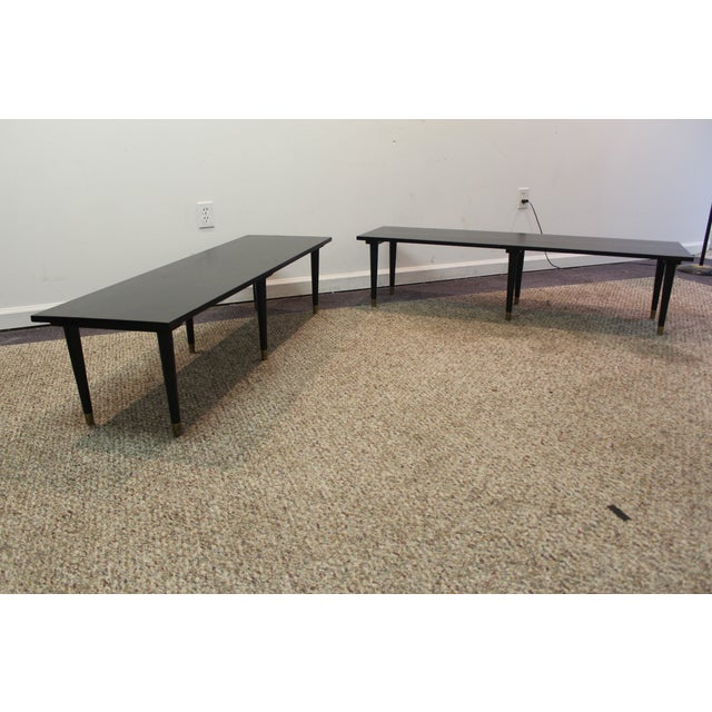 Mid Century Modern Ebonized Coffee Tables - Pair - Image 3 of 11