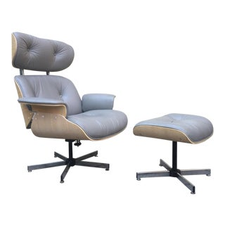 Eames Style Mid-Century Lounge Chair & Ottoman