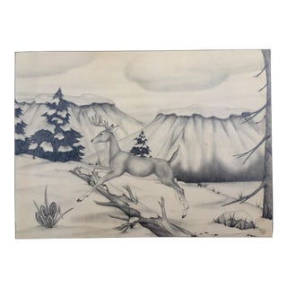 Deer in Winter Mountain Vintage Drawing by M. Keoke