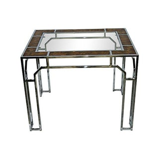 Milo Baughman-Style Chromed Steel & Burlwood Table