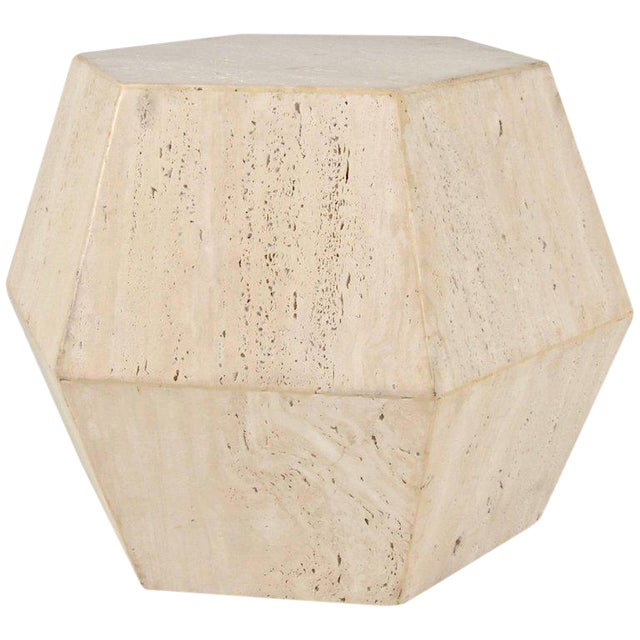 Travertine Marble Polygon Cocktail Table - Image 1 of 6