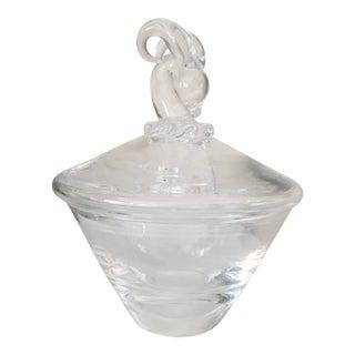 Vintage Signed Steuben Crystal Lidded Candy Bowl
