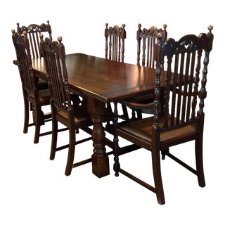 Vintage Carved Wood Dining Table & Chair Set