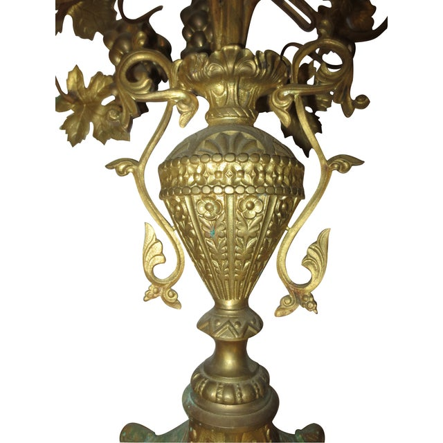 Tall Brass Floral Candleholder - Image 7 of 8