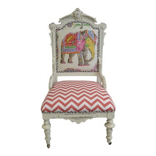 Clarence House Upholstered White Painted Occasional Chair
