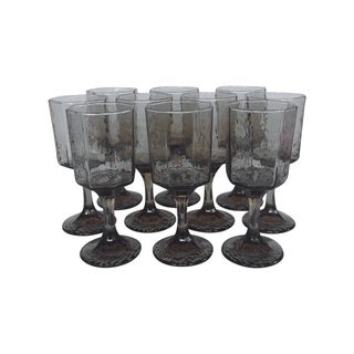 Vintage Octagonal Stemmed Glasses - Set of 10