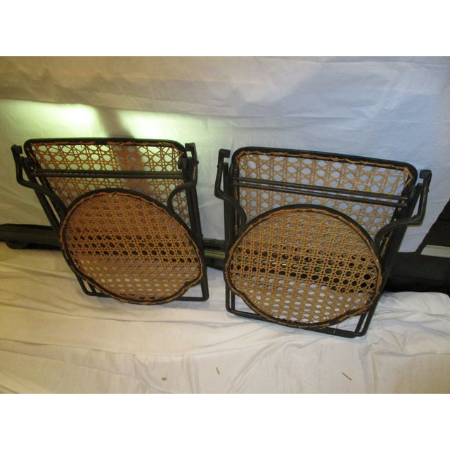 French Iron Beach Chairs With Cane Seats - A Pair - Image 10 of 11