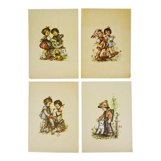 Antique Young Children Color Prints on Paper - Set of 4