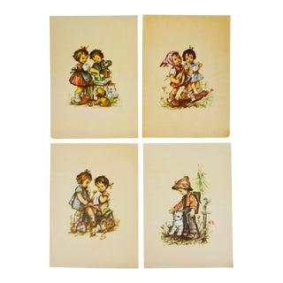 Antique Young Children Color Prints on Paper - Set of 4