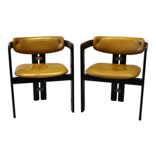 1940's Leather Arm Chairs - A Pair