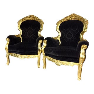 Black & Gold Rococo Chairs - A Pair