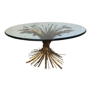 Gold Gilt Leaf Sheaf of Wheat Glass Top Coffee Table