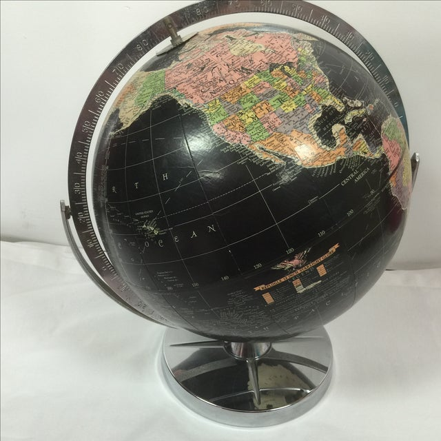 Vintage Black World Globe with Silver Stand - Image 5 of 7