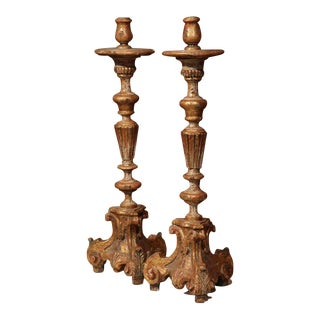 Early 20th Century Italian Carved Pricket Candlesticks With Gilt - A Pair