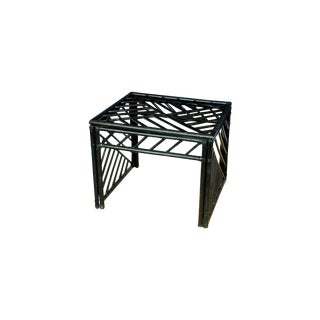 Black Vintage Rattan Chippendale Style Side Table