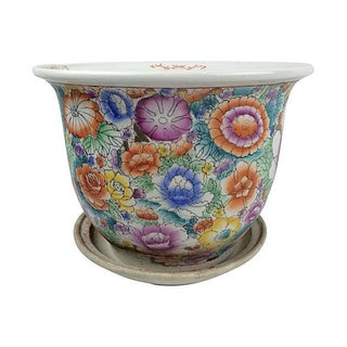 Chinese Mille Fiori Planter & Under-Plate
