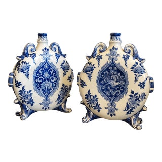 19th-Century French Faience Gien Flasks, A Pair