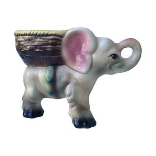 1950's Ceramic Glazed Elephant Plant Holder